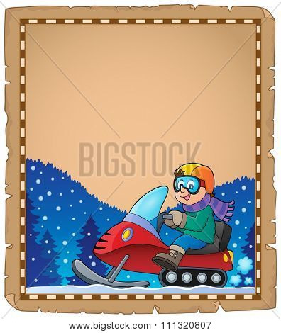 Parchment with snowmobile theme 1 - eps10 vector illustration.