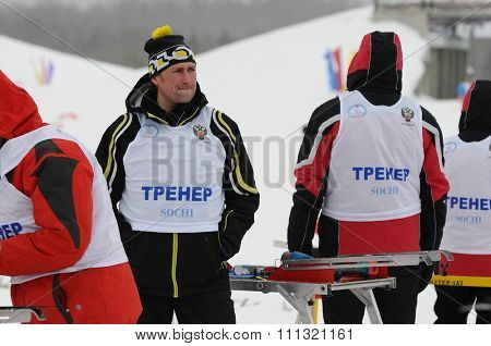 SYKTYVKAR, RUSSIA - APRIL 02, 2013: photo of trainer at the Russian cross-country ski championship-2013. It had been run by Cross-country ski Federation of Russia in Syktyvkar.