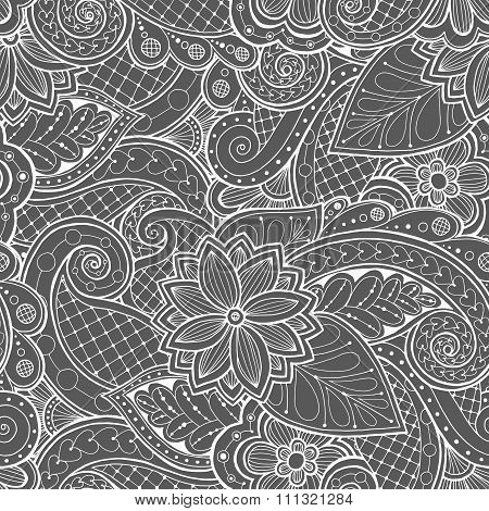 Doodle pattern with doodles, flowers and paisley.