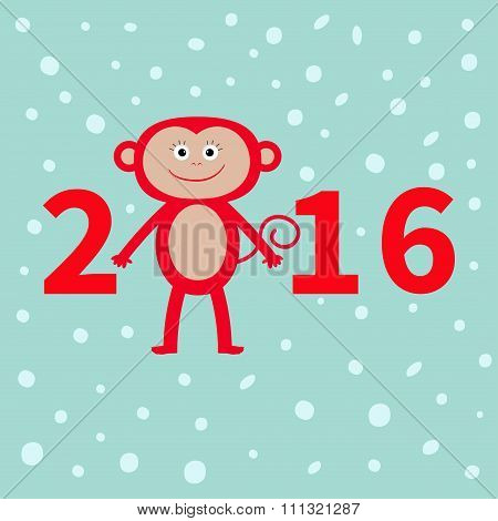 Cute Monkey On Snow Background. New Year 2016.  Baby Illustration. Greeting Card  Flat Design