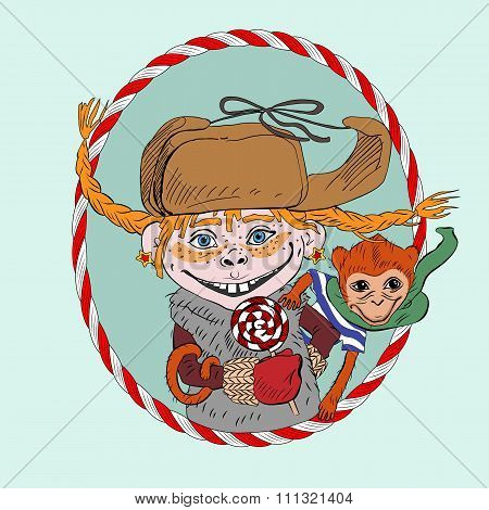 Christmas and New Year greeting card with cheerful freckled girl on the shoulder with a fire in the