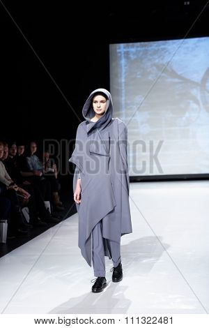 ST. PETERSBURG, RUSSIA - DECEMBER 5, 2015: Collection of fashion house Harlen at the fashion show during St. Petersburg Fashion Week Overview. The event sums up the year of the city's fashion industry