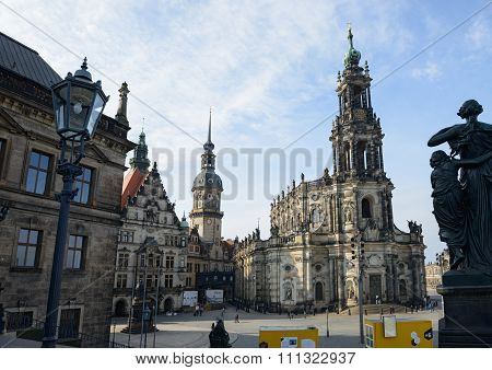 Castle Square In Winter Day, Dresden, Saxony, Germany.