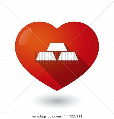 Isolated Red Heart With Three Gold Bullions