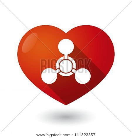 Isolated Red Heart With A Chemical Weapon Sign