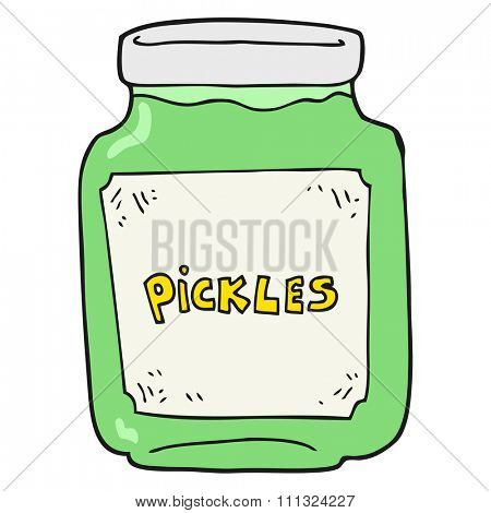 freehand drawn cartoon pickle jar