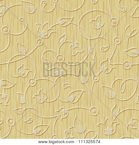 seamless abstract wood carved floral ornament