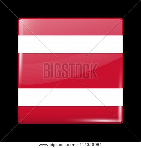 Thailand Variant Flag. Glassy Icon Square Shape
