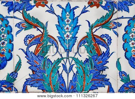 Blue Floral Patterns Of 16Th Century Tiles In Antique Turkish Style
