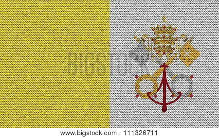 Flags Vatican Cityholy See On Denim Texture.