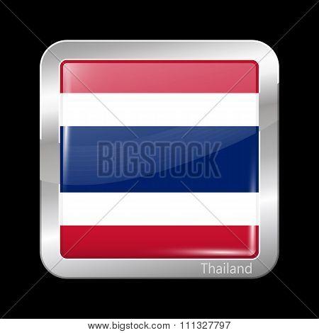 Flag Of Thailand. Metallic Icon Square Shape
