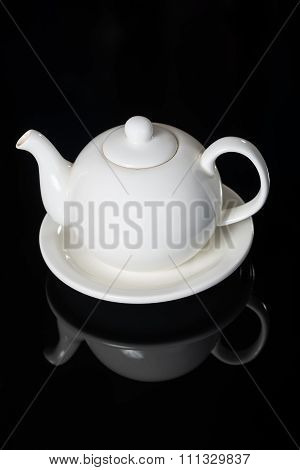 Close-up of White Teapot