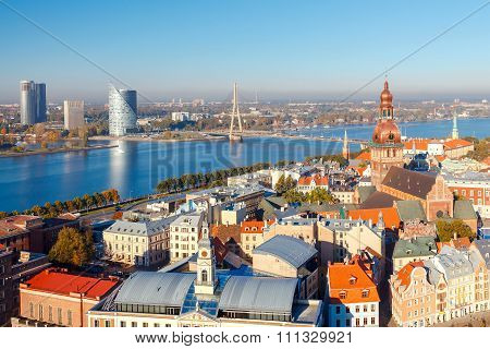 View of Riga and the Daugava River from above.