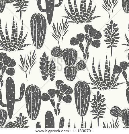 Succulents plant vector seamless pattern. Botanical black and white cactus flora fabric print.