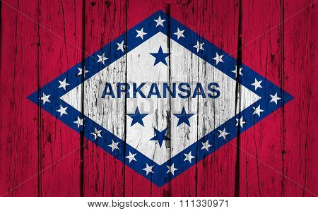 Arkansas State Flag Grunge Wooden Background