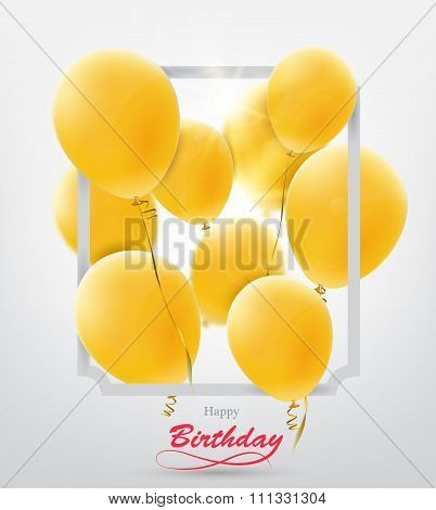 Birthday greeting card with balloons.