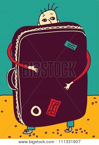 Emigration or travel man with suitcase color.
