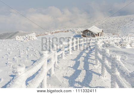 Winter White Snow Of Sobaeksan Mountain In Korea.