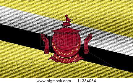 Flags Brunei On Denim Texture.