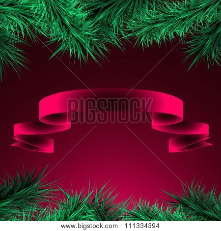 Green Branches Of Spruce And Ribbon On A Red-raspberry  Background,
