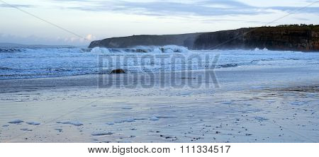 Blue Winter Waves Crashing