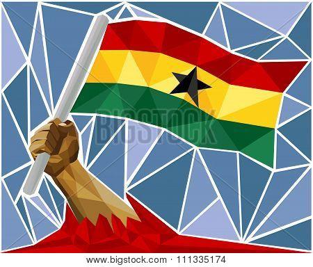 Arm Raising The National Flag Of Ghana