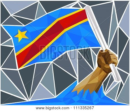Patriotic Man Arm Raising The Flag Of The Democratic Republic Of The Congo