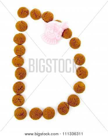 Ginger Nuts, Pepernoten, In The Shape Of Letter D Isolated On White Background