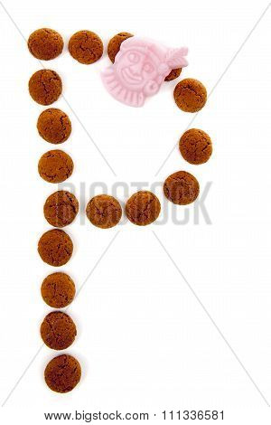 Ginger Nuts, Pepernoten, In The Shape Of Letter P Isolated On White Background