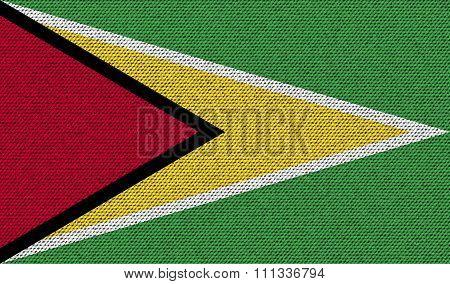 Flags Guyana On Denim Texture.