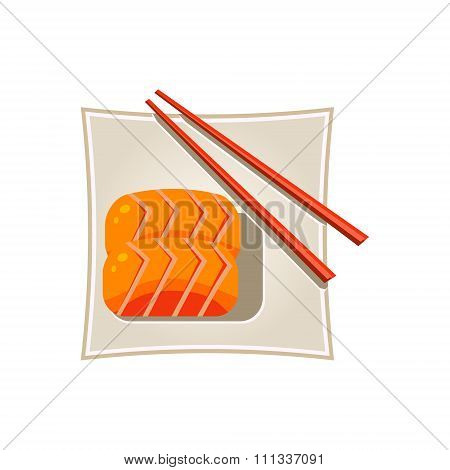 Sushi with Salmon and Sticks Served Food. Vector Illustration