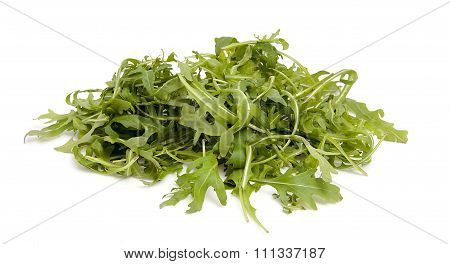 Pile Of Fresh Ruccola Lettuce Over White Background