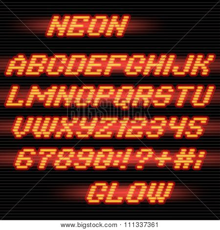 Neon glowing Alphabet font and numbers on stripe background