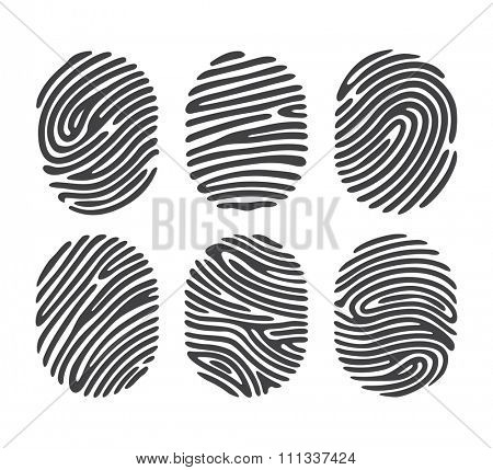 Black finger print set isolated on white background. Elements of identification systems, security conception, apps icons. Vector illustration.