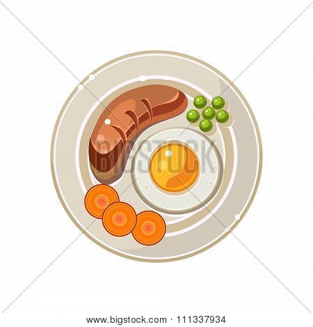 Breakfast Serving with a Fried Egg and Sausage. Vector Illustration