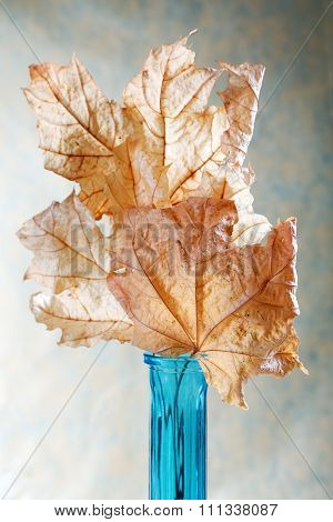 Blue Vase With Dry Yellow Leaves On Table