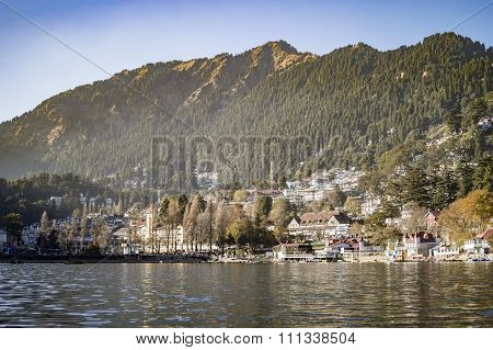 Lakeside Town In Mountains And Range Of Himalaya