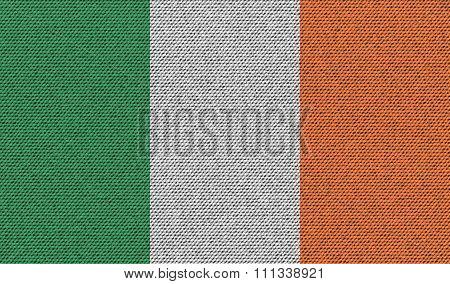 Flags Ireland On Denim Texture.