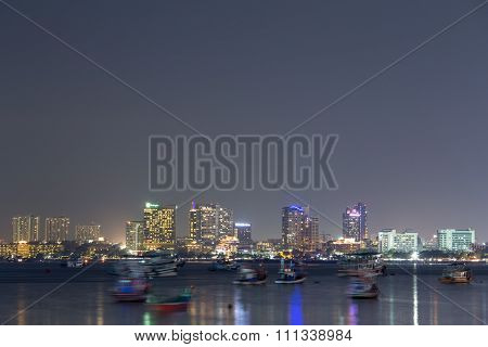 Cityscape Of Pattaya Beach At Night