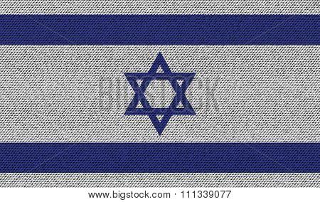 Flags Israel On Denim Texture.