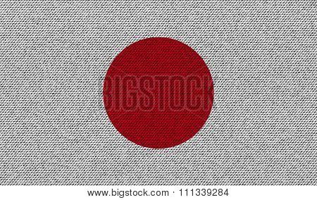 Flags Japan On Denim Texture.