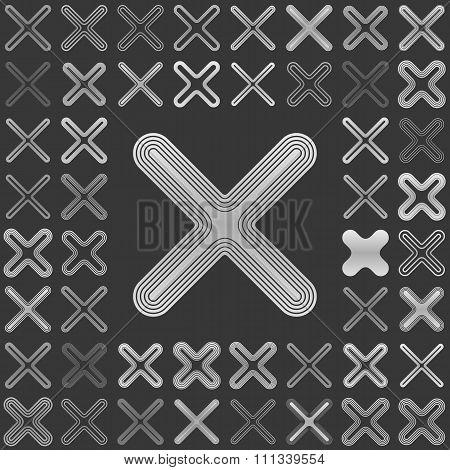 Silver line close icon design set