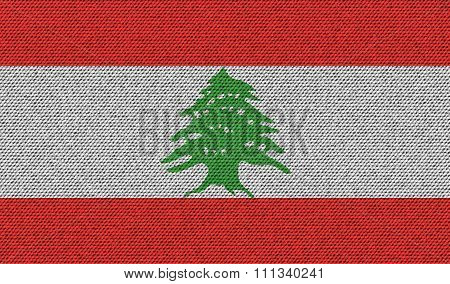 Flags Lebanon On Denim Texture.
