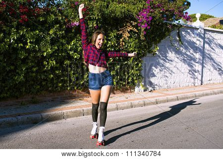 Beautiful Cheerful Woman On Roller Skates Crying 'hurrah'
