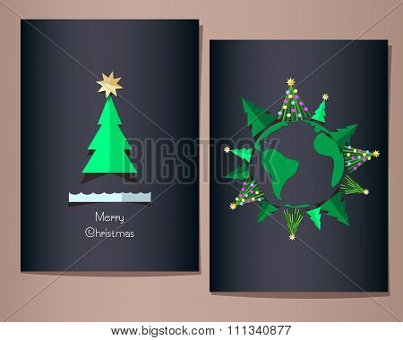 Christmas greeting cards set, vector illustration.
