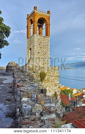 Medieval Clock tower in Nafpaktos town