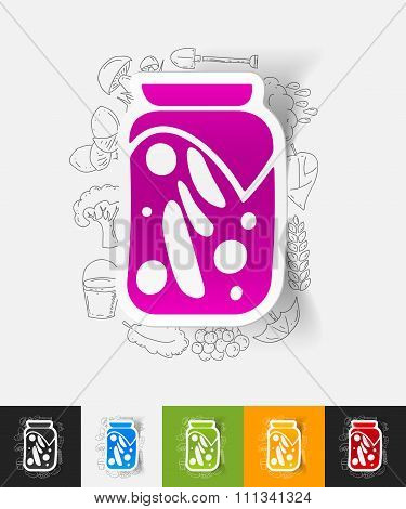 pickled vegetables paper sticker with hand drawn elements