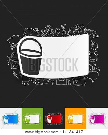 bucket paper sticker with hand drawn elements