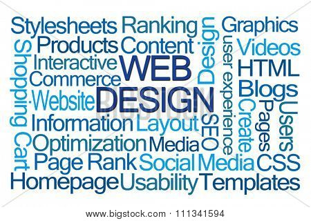Web Design Word Cloud on White Background
