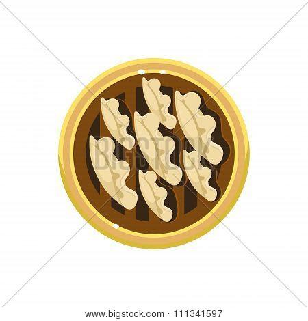 Chocolate Pie Served Food. Vector Illustration